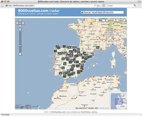 mapa radares