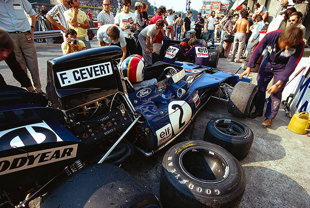 Francois Cevert during practice in the Tyrrell pits