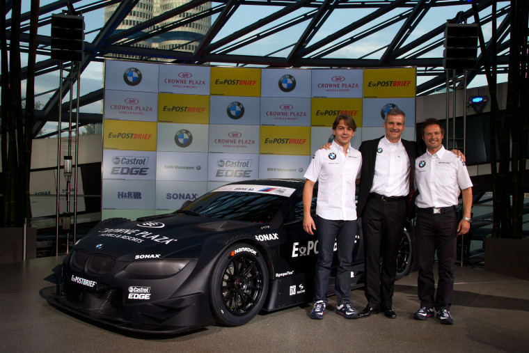 Munich (GER) 15 July 2011. BMW Motorsport. BMW works driver Augusto Farfus (BR), BMW Motorsport Director Jens Marquardt and Andy Priaulx (GB) on the BMW M3 DTM Concept Car. This image is copyright free for editorial use © BMW AG (07/2011).